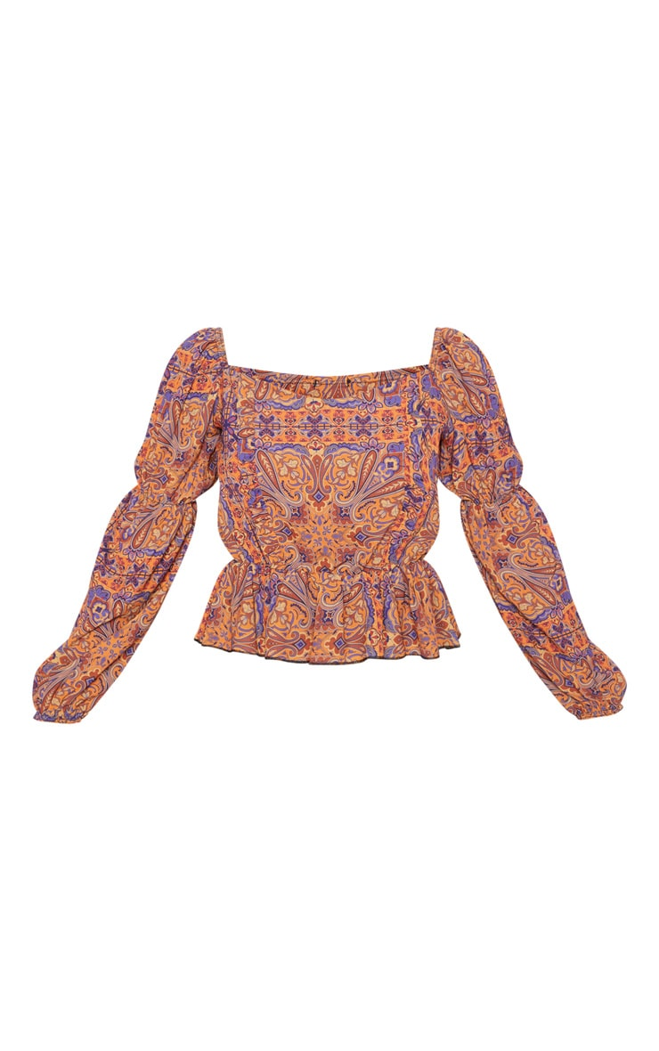 Rusty Paisley Printed Frill Square Neck Blouse 3