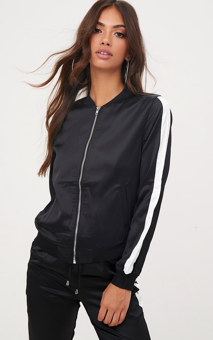 Black Sport Stripe Track Jacket  1