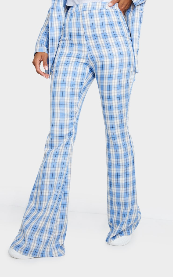 Light Blue Check Print Extreme Flare Trousers 2