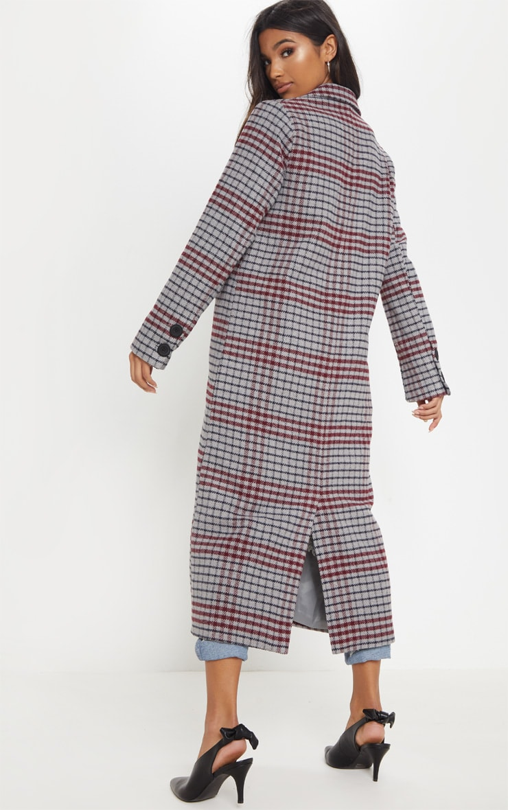 Grey Check Maxi Coat  2