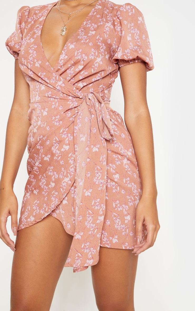 Pink Floral Print Tie Side Puff Sleeve Tea Dress 5