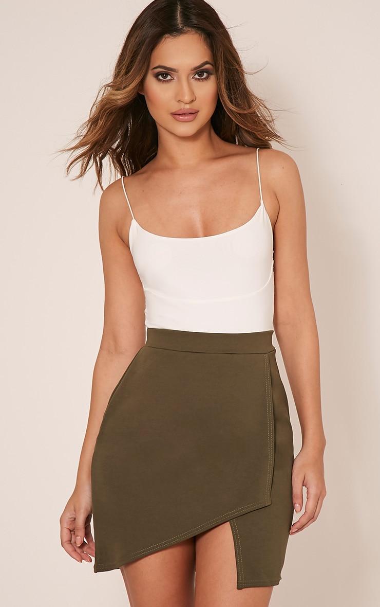 Marcella Khaki Asymmetric Wrap Mini Skirt 1