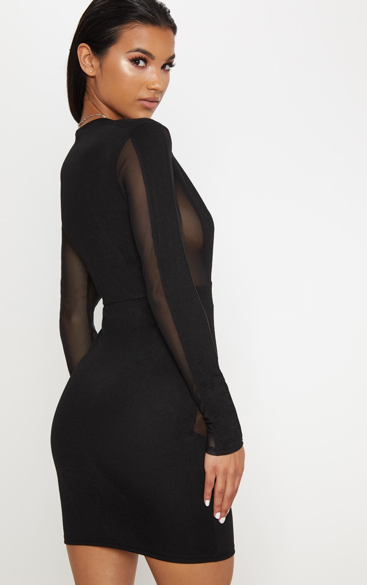 Black Mesh Insert Extreme Plunge Long Sleeve Bodycon Dress 2