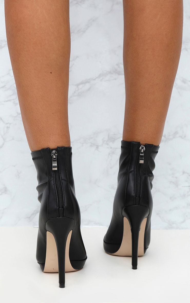 Black PU Pointed Ankle Sock Boots 4