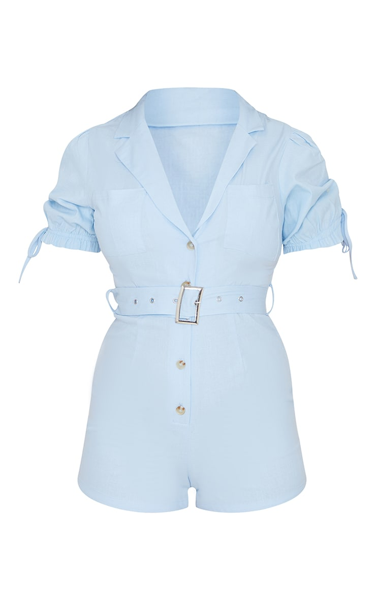 Baby Blue Linen Look Puff Sleeve Belted Romper 5