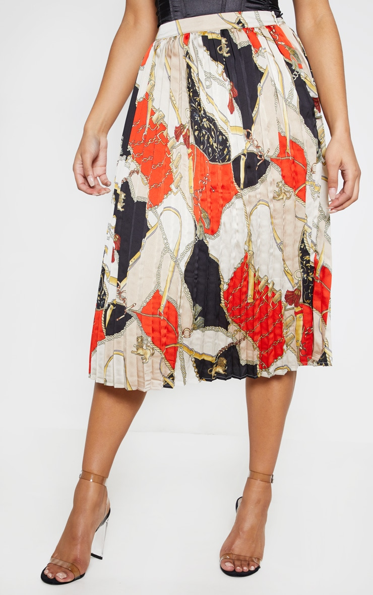 Cream Chain Print Pleated Midi Skirt  2