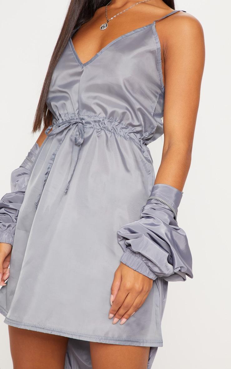 Grey Shell Drawstring Strappy Shift Dress 5