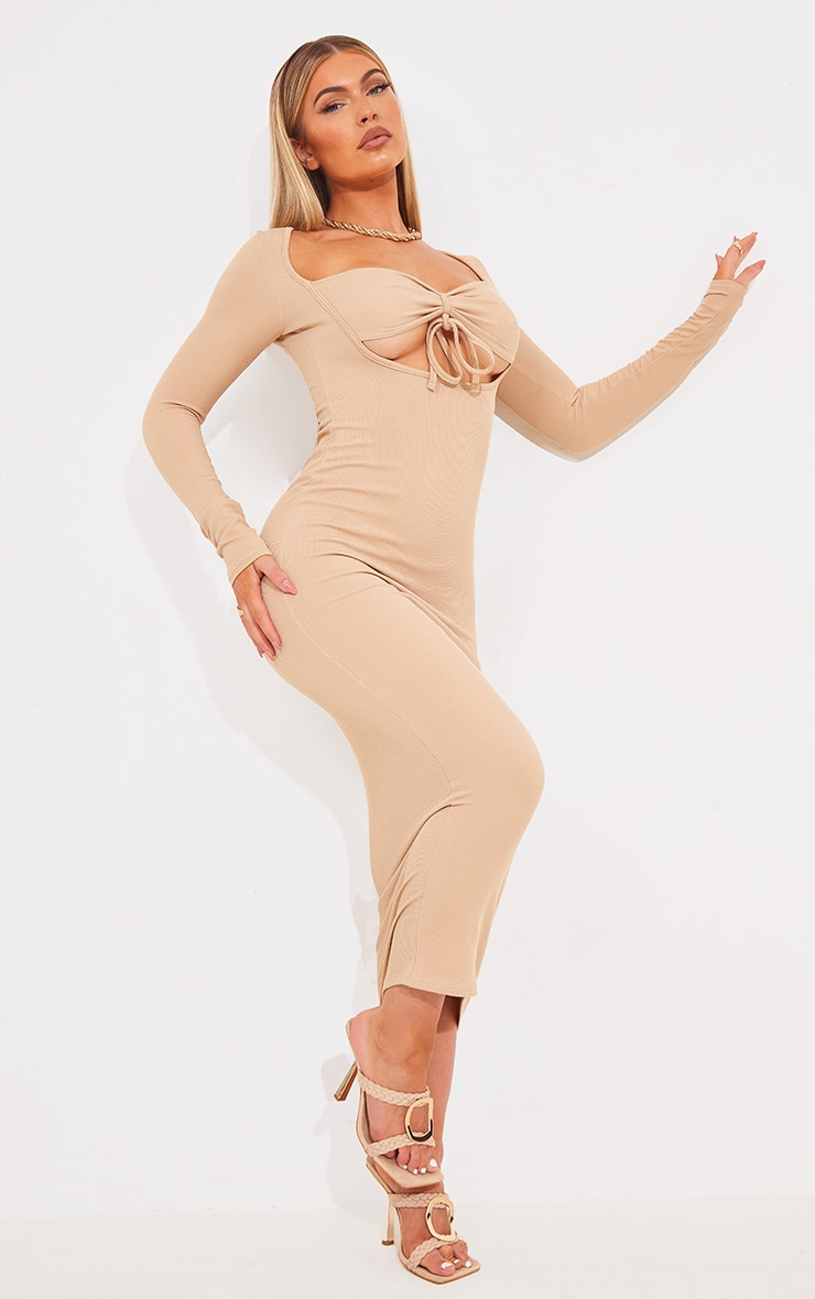 Stone Tie Bust Detail Long Sleeve Ribbed Midaxi Dress 1