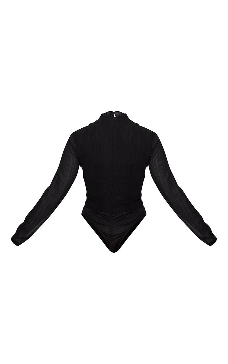 Black Woven Cut Out High Neck Bodysuit 4