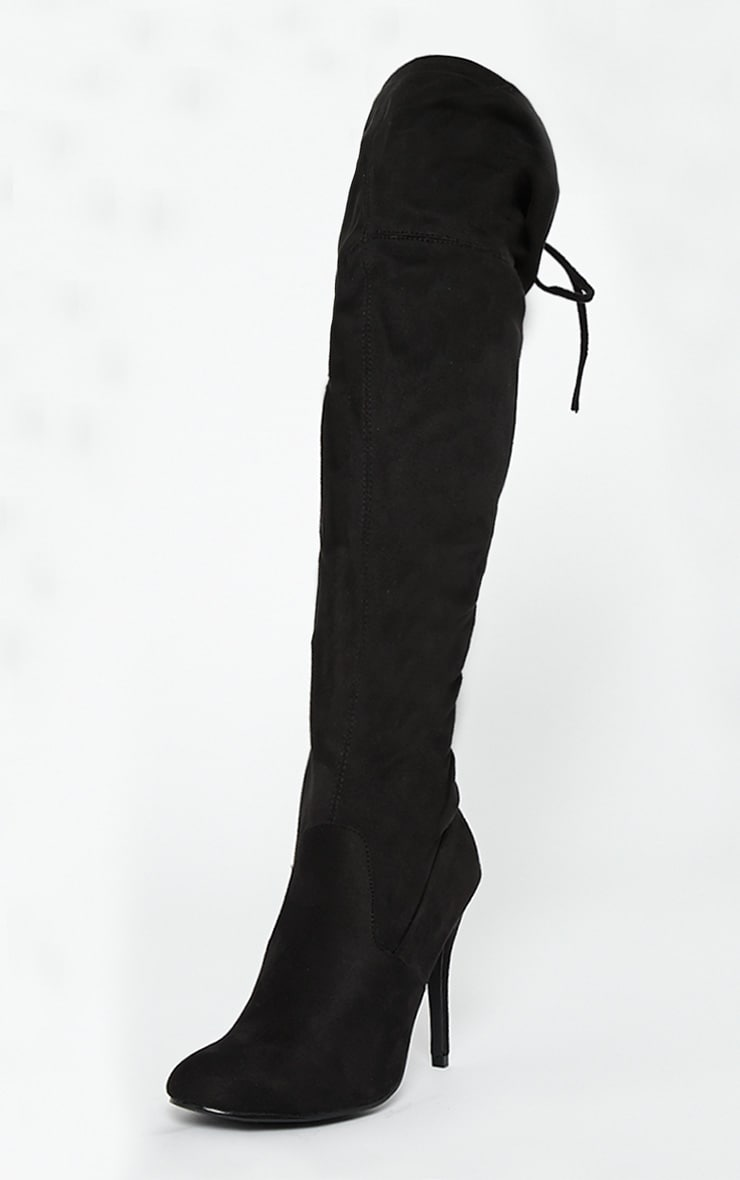 Ayanna Black Suedette Over The Knee Heeled Boots 4