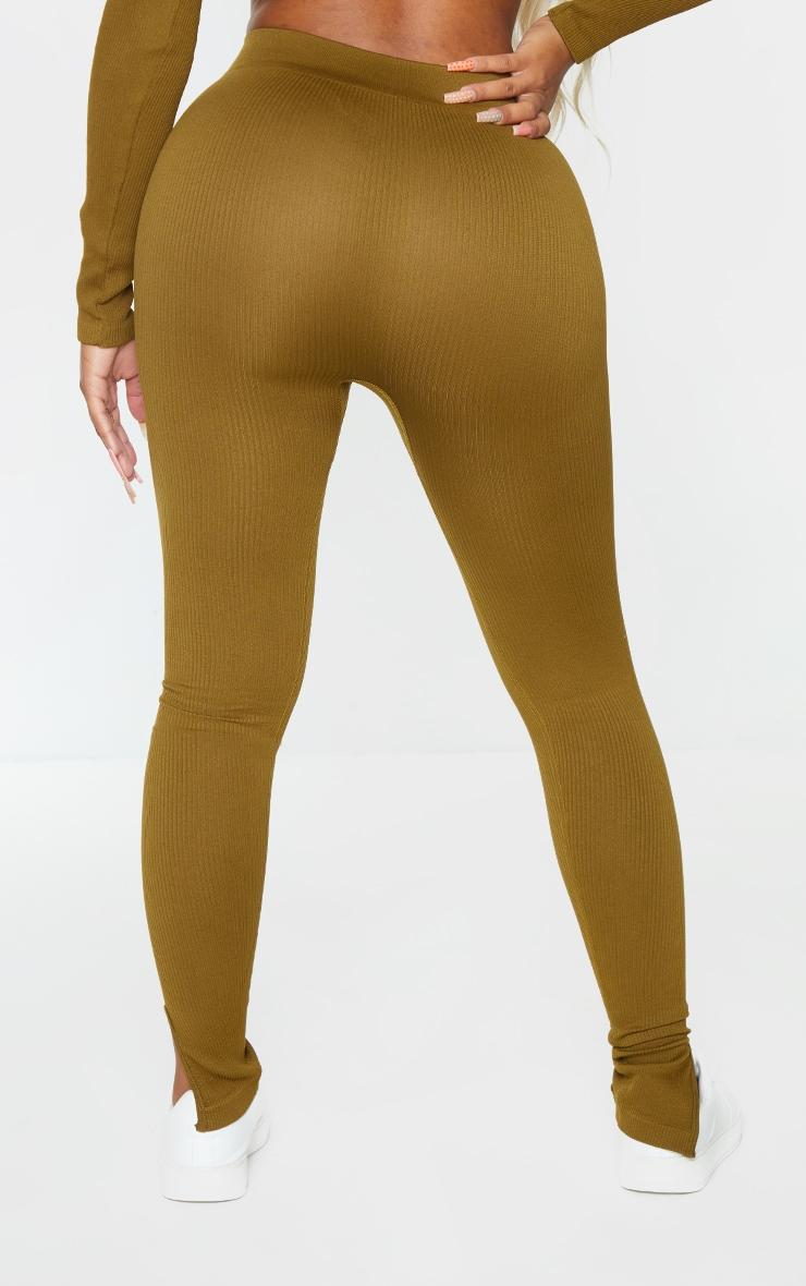Shape Olive Contour Ribbed Split Hem Leggings 3