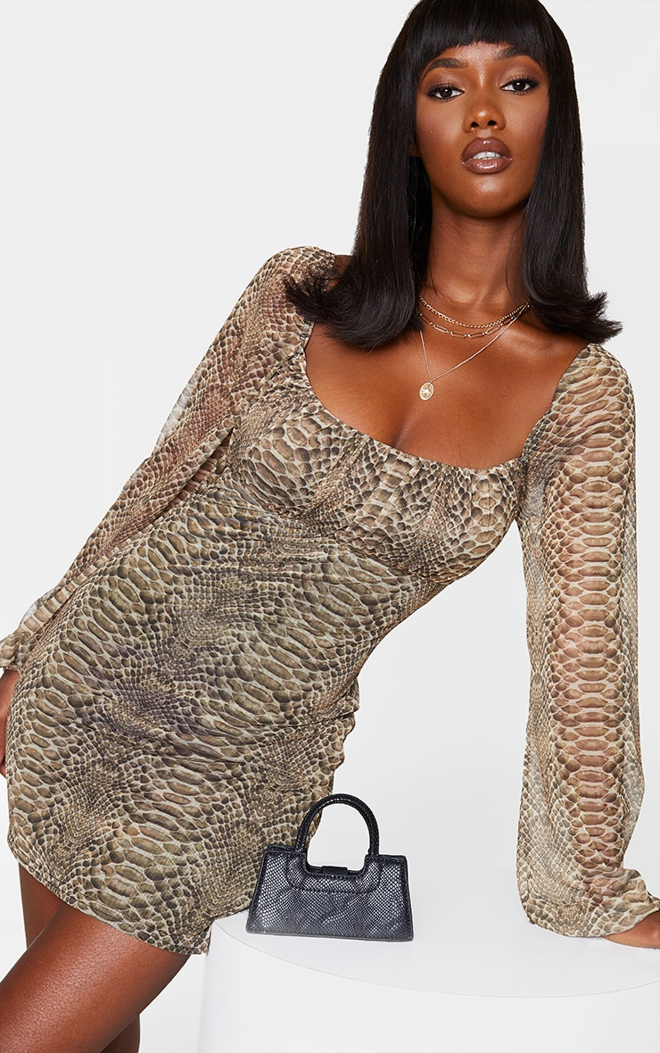 Nude Snake Print Mesh Ruched Bust Long Sleeve Bodycon Dress 1