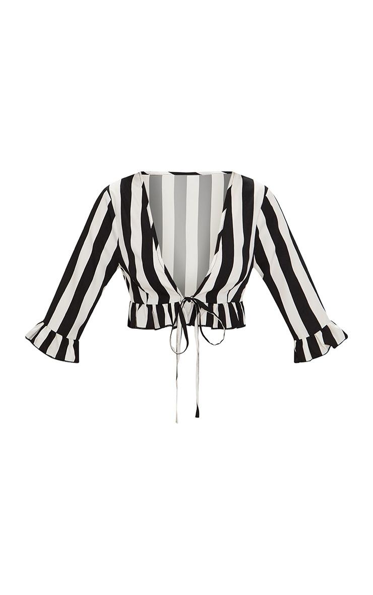 Petite Black Monochrome Stripe Tie Front Blouse 3
