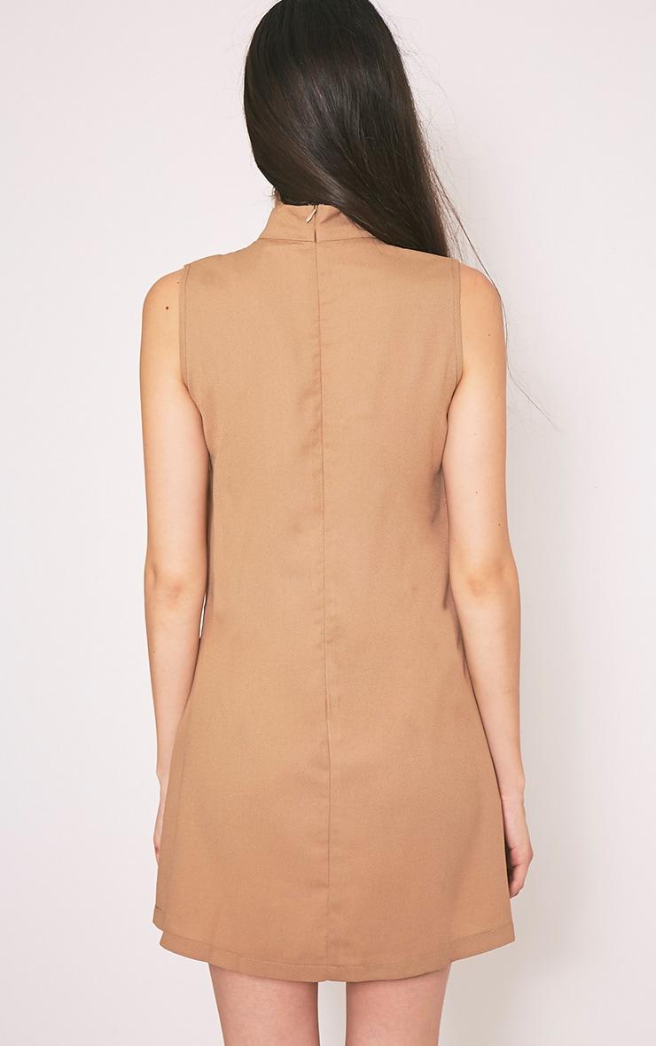 Taina Camel Choker Detail Embroidered Shift Dress 2