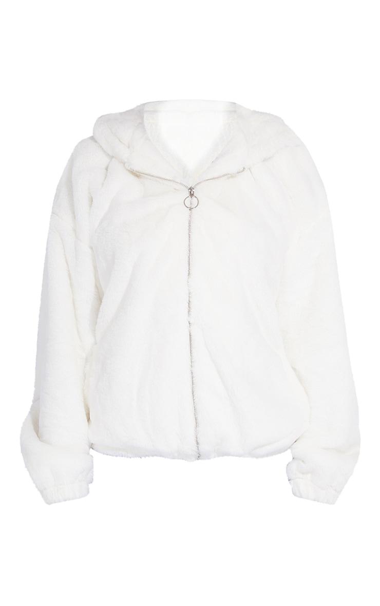 Tall Cream Faux Fur Hooded Balloon Sleeve Reversible Jacket 5