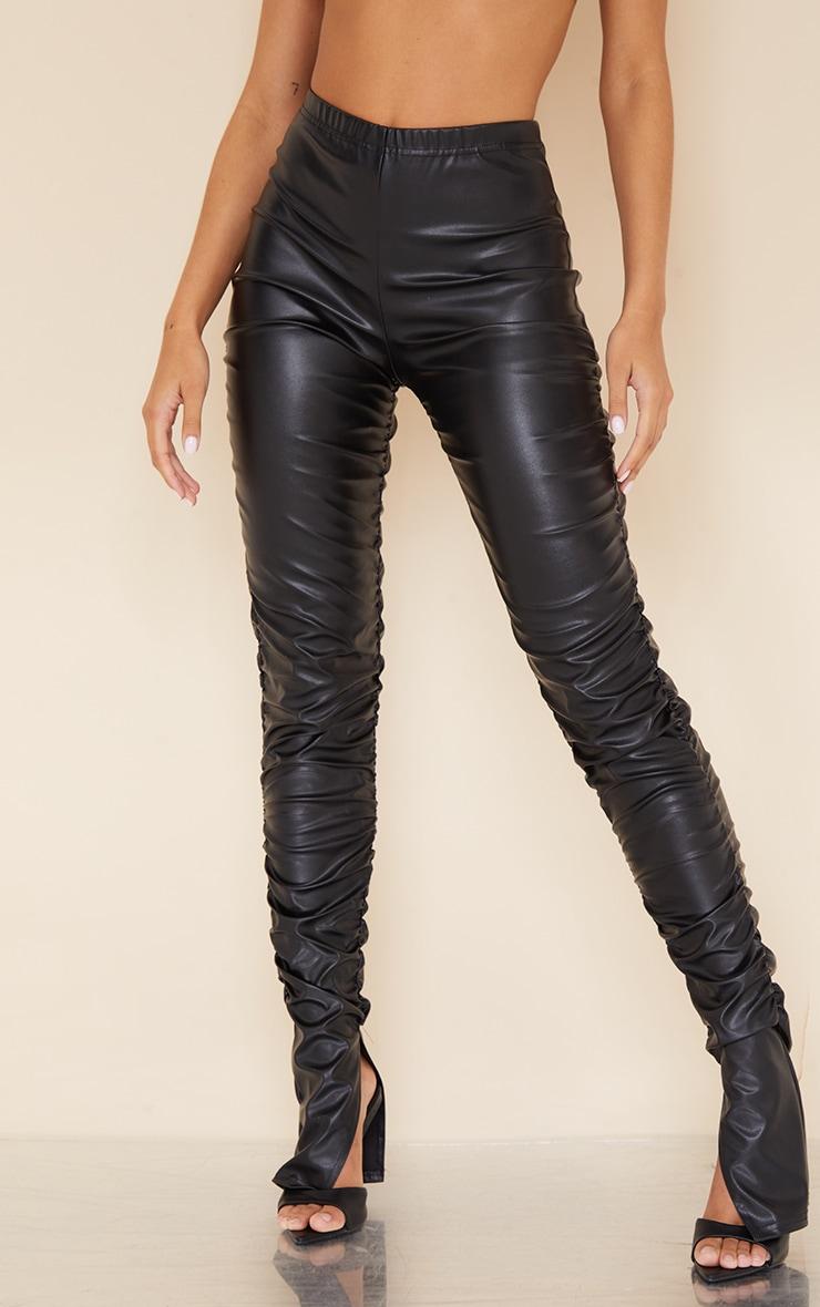 Black Faux Leather Ruched Leg Split Hem Leggings 2