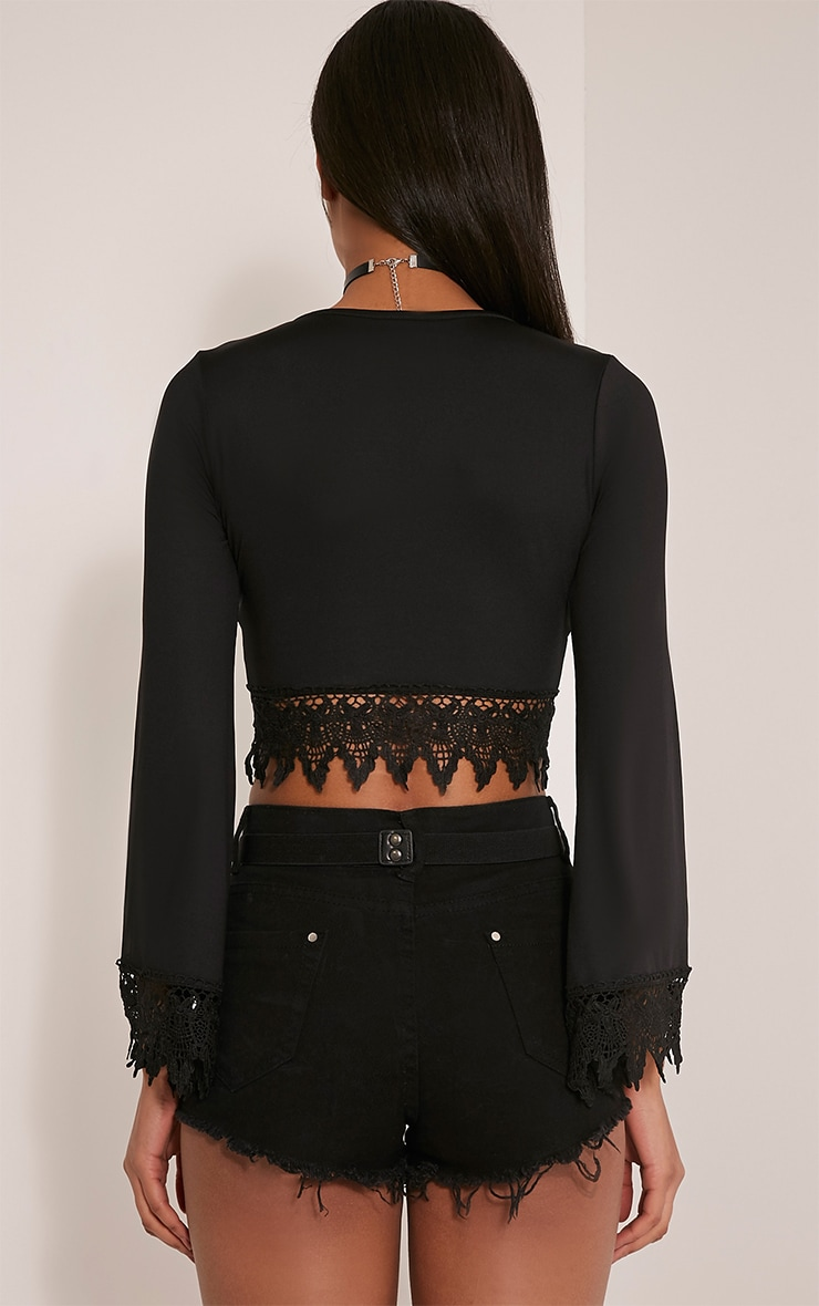 Ashlee Black Lace Up Long Sleeve Crop Top 2