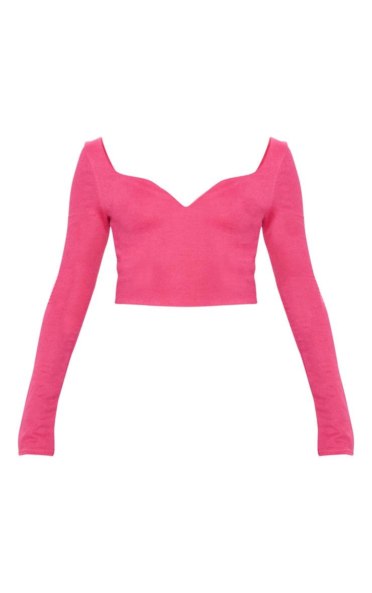Hot Pink Crepe Sweetheart Neck Long Sleeve Crop Top 3