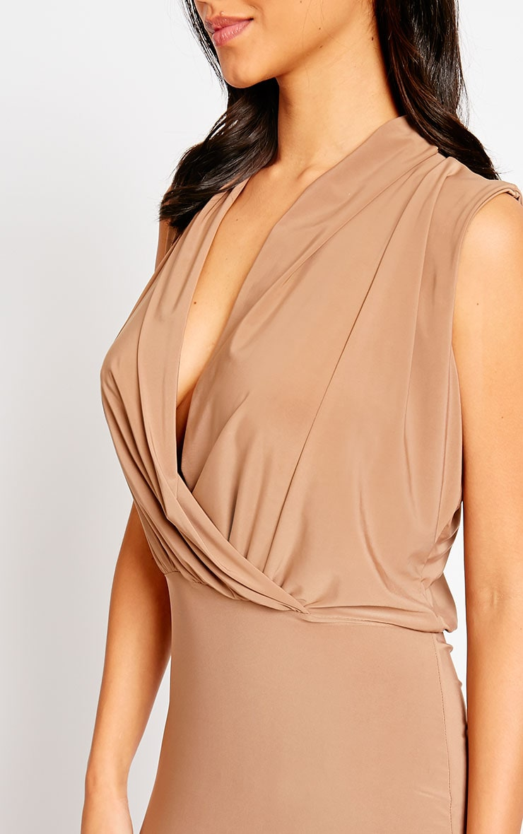 Stella Mocha Drape Midi Dress 4