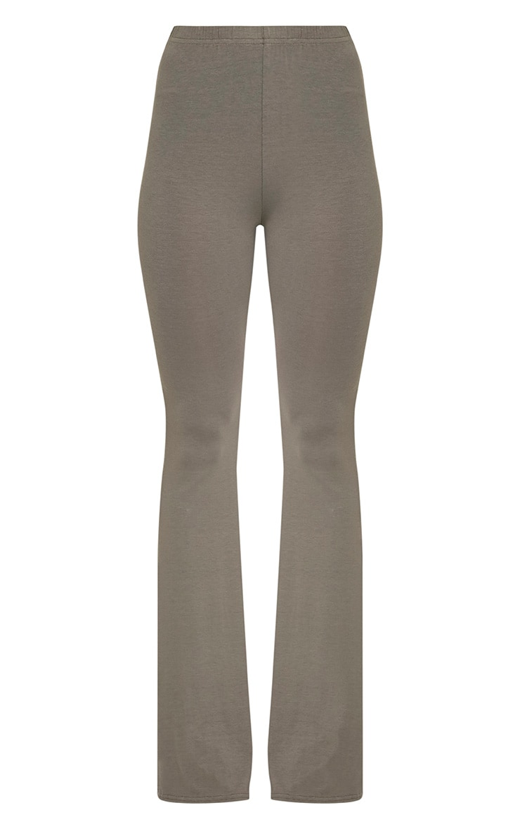 Basic Khaki Jersey Flared Trousers 3