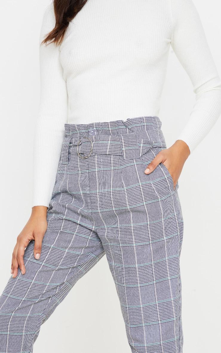 Grey Check Paper Bag Woven Pants 5