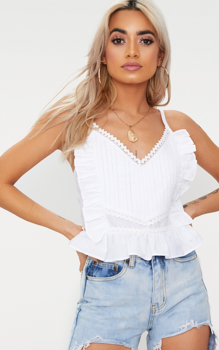 White Cotton Frill Detail Cami Top  1
