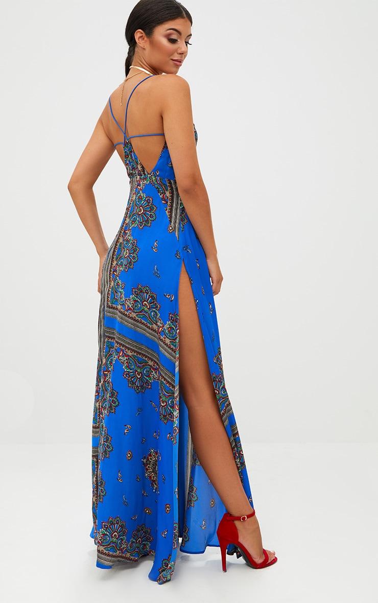 Cobalt Print Extreme Split Strappy Back Maxi Dress 2