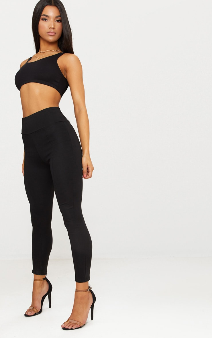 Black Second Skin Hightwaisted Ponte Seamed Legging 1