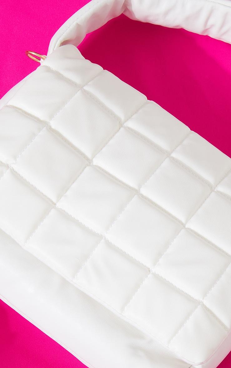 White Oversized Quilted Shoulder Bag 4