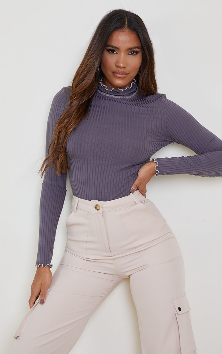 Grey Rib Lettuce Hem Long Sleeve Top 1