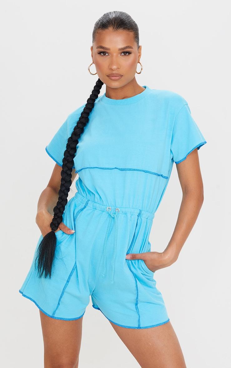 Bright Blue Overlocked Hem T Shirt Romper 3