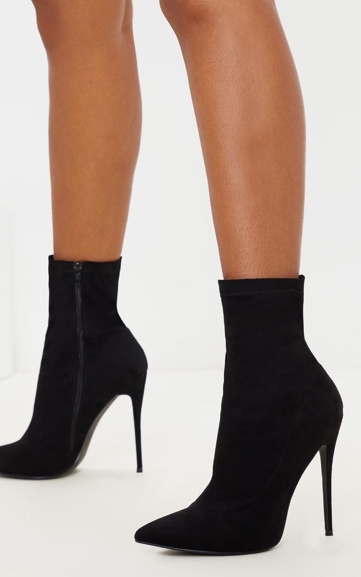 Black High Point Stiletto Sock Boot 1