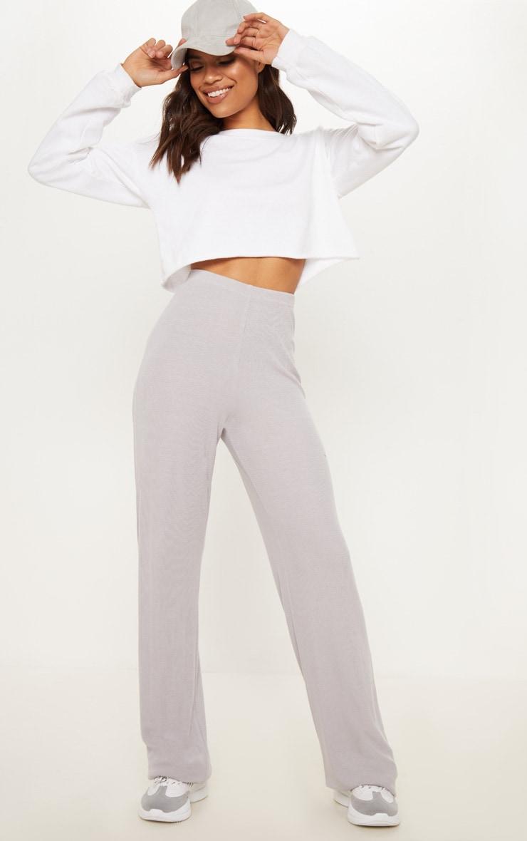 Ice Grey Soft Rib Wide Leg Casual Trouser by Prettylittlething