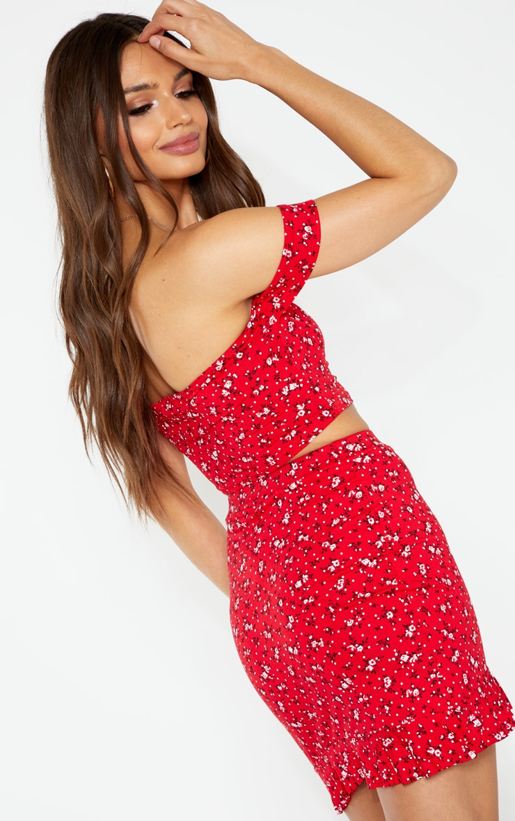 Red Bardot Disty Floral Print Crop Top 2
