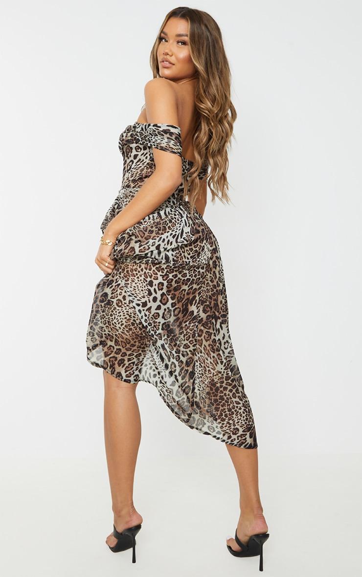 Tan Leopard Print Chiffon Draped Bardot Midi Dress 2