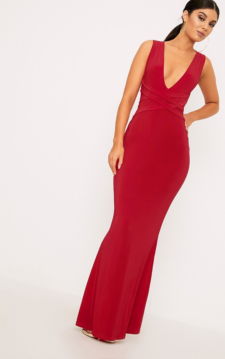 Maci Red Double Wrap Slinky Maxi Dress 1