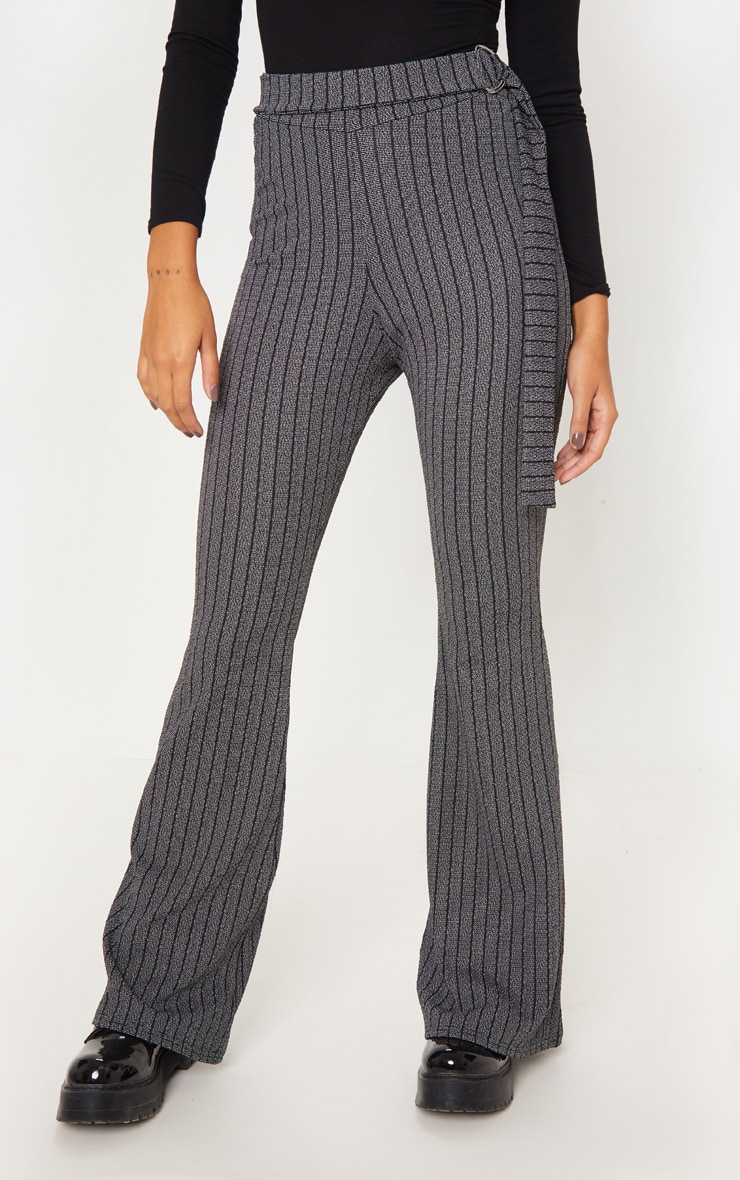 Grey D Ring Textured Stripe Wide Leg Pants 2