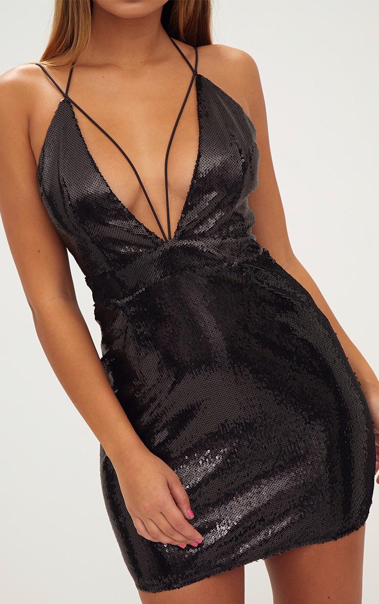Black Strap Detail Sequin Bodycon Dress 6