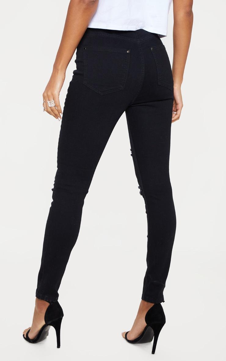 Black Distressed 5 Pocket Skinny  Jean 4