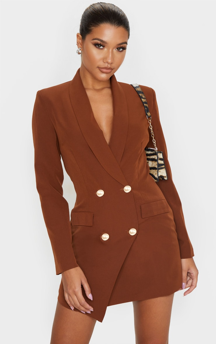 Chocolate Gold Button Blazer Dress 1