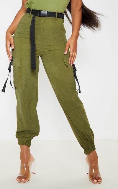 Khaki Buckle Detail Belted Cargo Trouser