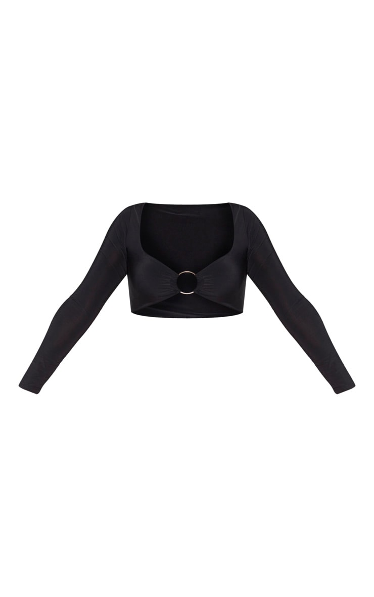 Black Slinky O Ring Long Sleeve Crop Top 3