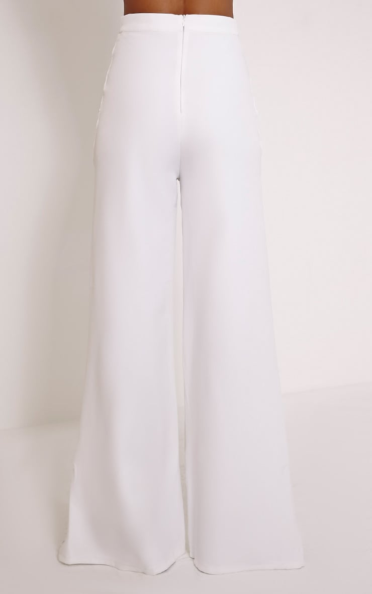 Loiss Cream Lace Up Side Wide Leg Trousers 4