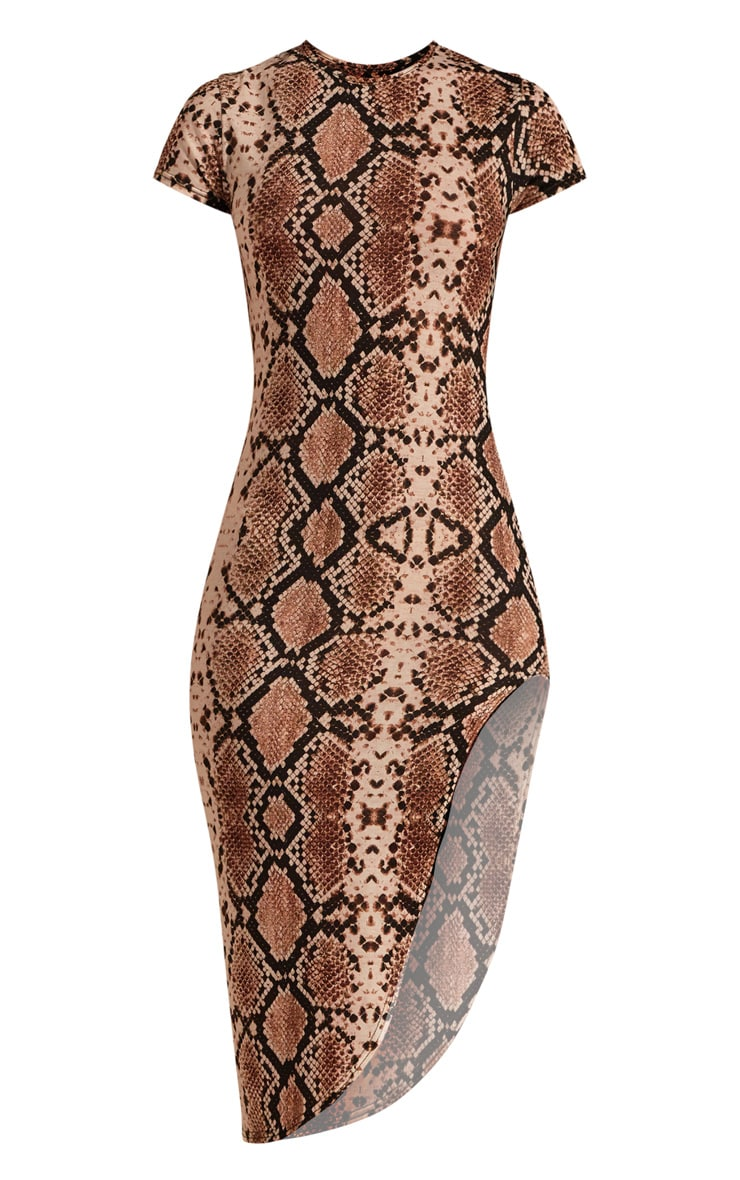 Beige Snake Print Extreme Split Cap Sleeve Midi Dress 3