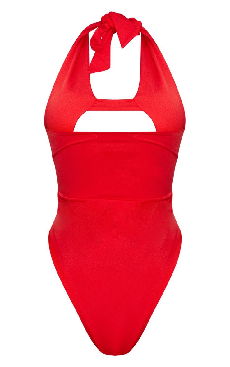 Shape Red Cut Out Front Halterneck Swimsuit 8