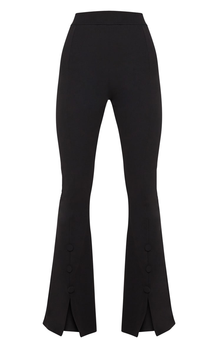 Black Flared Button Detail Suit Pants 3