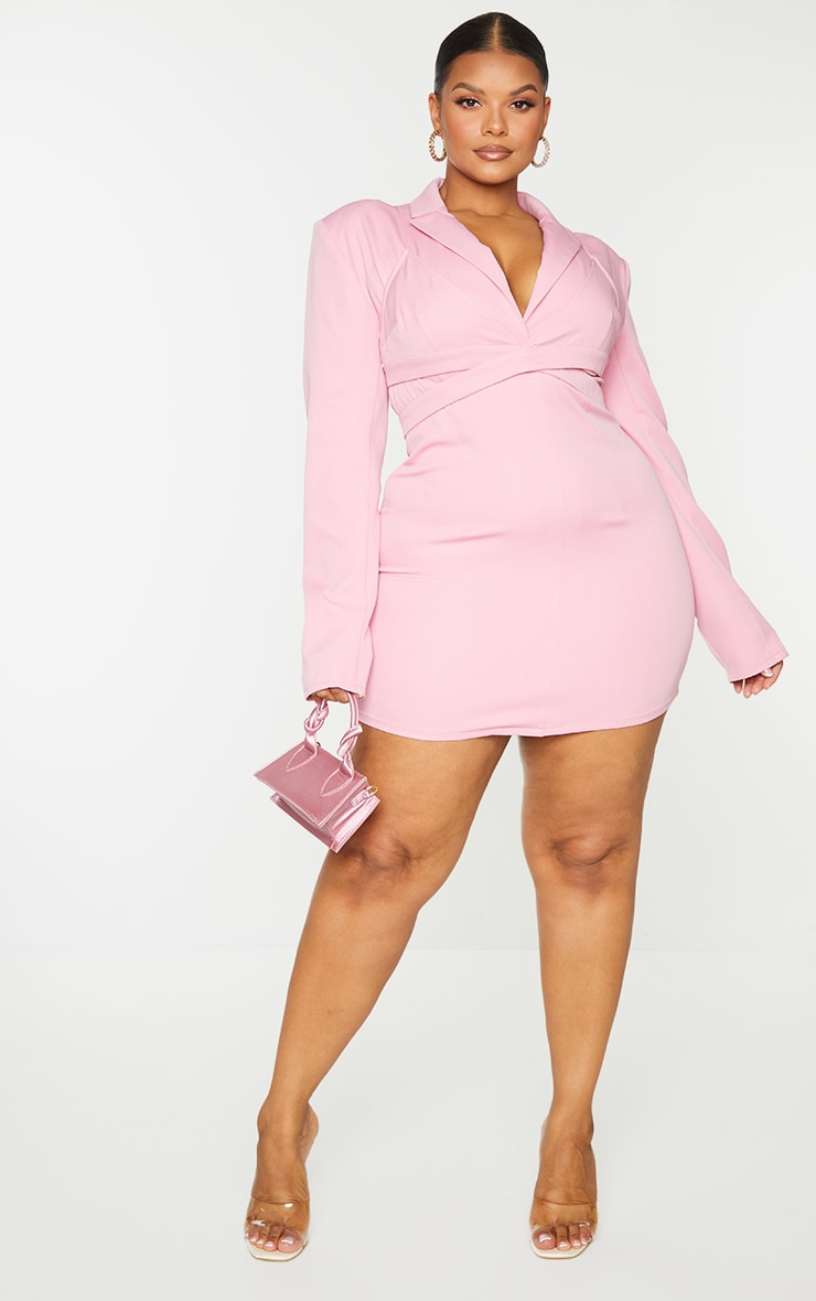 PLT Plus - Robe blazer rose croisée effet superposé 1
