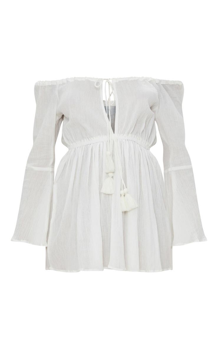 White Bardot Tassel Tied Beach Dress 3