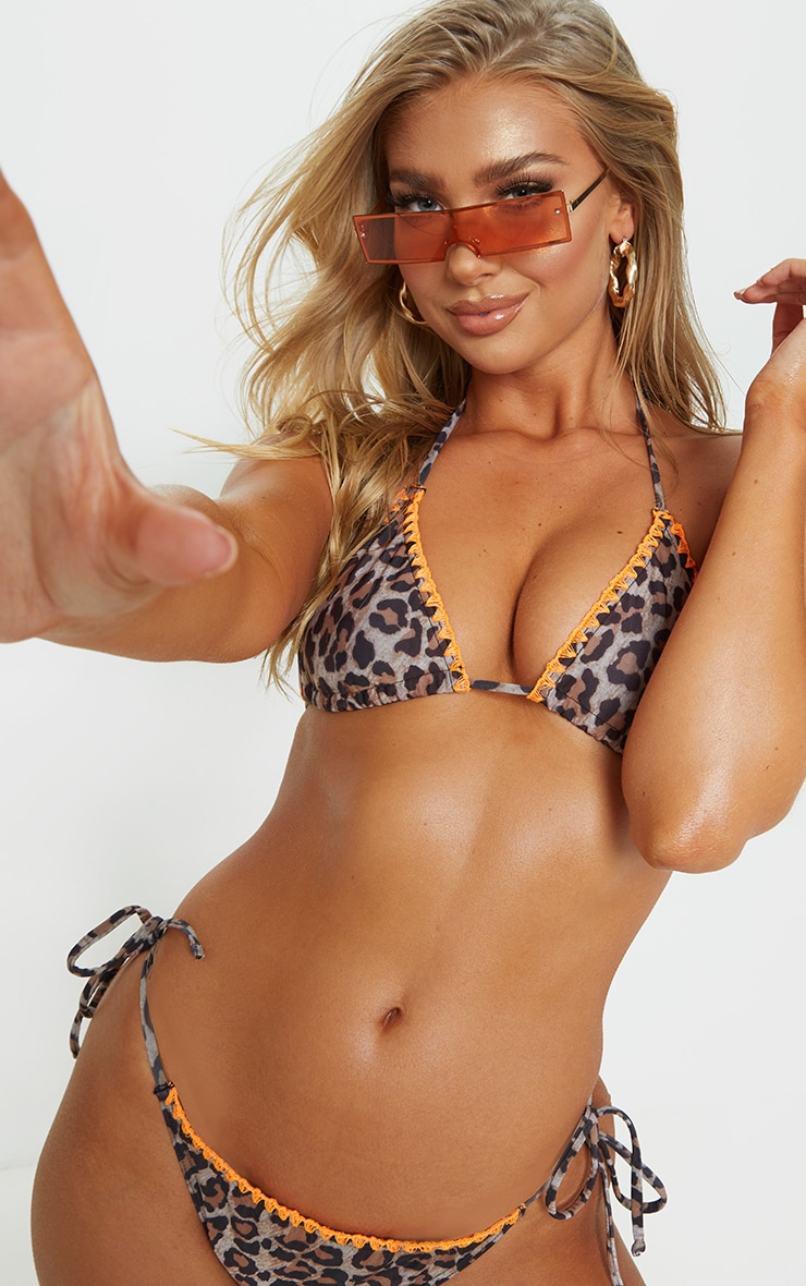 Leopard Blanket Stitch Triangle Bikini Top 1