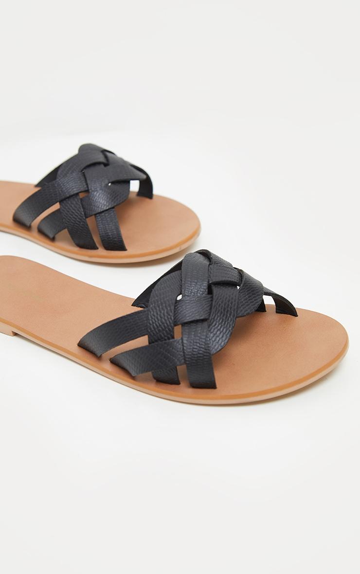 Black Platted Mule Sandal 1